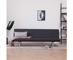 vidaXL Sofá cama de poliéster gris oscuro