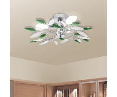 vidaXL Lámpara de techo con forma de hojas, cristal acrílico blanco y verde