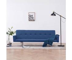vidaXL Sofá cama con reposabrazos de poliéster azul