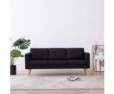 vidaXL Sofá de 3 plazas de tela negro