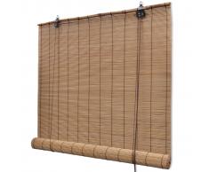 vidaXL Persiana / Estor enrollable marrón de bambú 140 x 160 cm