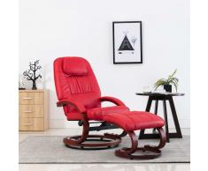 vidaXL Sillón reclinable con reposapiés cuero sintético rojo