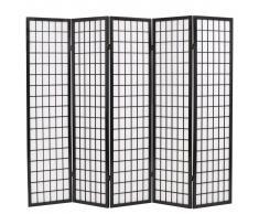vidaXL Biombo plegable con 5 paneles estilo japonés 200x170 cm negro