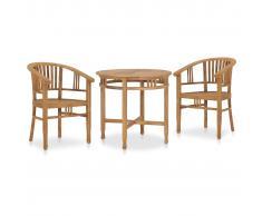 vidaXL Conjunto de comedor de jardín 3 piezas madera maciza de teca