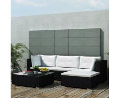 vidaXL juego de sofá jardín 14 piezas mimbre sintético negro
