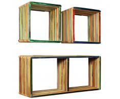 vidaXL Estantes de pared de madera reciclada de teca maciza 3 piezas