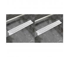 vidaXL Desagüe ducha lineal 2 pzs curvas 630x140 mm acero inoxidable