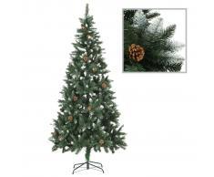 vidaXL Árbol de Navidad artificial con piñas y brillo blanco 210 cm