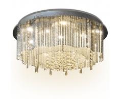 vidaXL Lámpara de araña, candelabro con cristales y luces LED, 55 cm