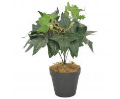 vidaXL Planta artificial hojas yedra con macetero verde 45 cm
