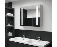 vidaXL Armario de cuarto de baño con espejo y LED 89x14x62 cm