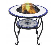 vidaXL Mesita con brasero de mosaico cerámica azul y blanco 68 cm