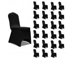 vidaXL Funda de silla elástica 24 unidades negro