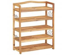 vidaXL Estantería zapatos 5 niveles madera maciza acacia 64x26x80 cm