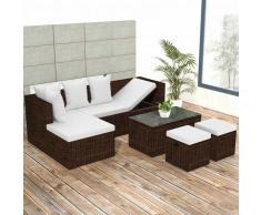 vidaXL Set de sofá esquina para jardín 12 piezas poli ratán marrón