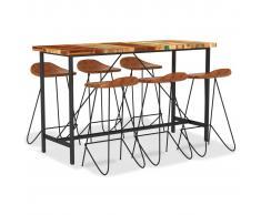 vidaXL Muebles de bar 7 piezas madera maciza reciclada cuero auténtico