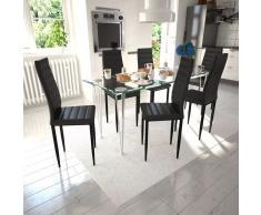 vidaXL 6 sillas negras comedor Slim Line mesa de vidrio transparente