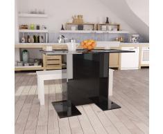 vidaXL Mesa de comedor de aglomerado negro brillante 110x60x75 cm