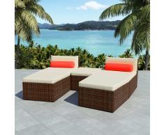 vidaXL Set de sofás de jardín modulares 14 piezas poli ratán marrón