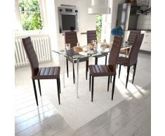 vidaXL 6 sillas marrones comedor Slim Line mesa de vidrio transparente