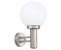 EGLO Lámpara de pared exterior con sensor Nisia 60 W plateada 27126