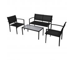vidaXL Conjunto de muebles jardín 4 piezas con banco negro