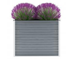 vidaXL Jardinera de jardín de acero galvanizado 100x40x77 cm gris