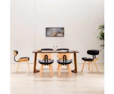 vidaXL Sillas de comedor 6 uds madera curvada cuero sintético negro