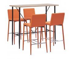 vidaXL Juego de mesa alta y taburetes 5 piezas cuero sintético naranja