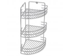 vidaXL Rinconera de baño metal con 3 estantes