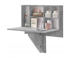 FMD Mesa de pared de hoja plegable con estante color hormigón
