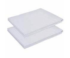 vidaXL Sábana lisa de cama 2 uds algodón 240x260 cm blanca
