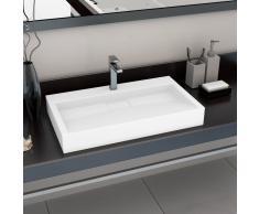 vidaXL Lavabo 80x46x11 cm resina mineral/mármol blanco