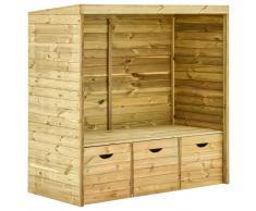 vidaXL Banco cenador de jardín 3 cajones madera maciza de pino 170 cm
