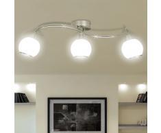 vidaXL Lámpara de techo de cristal con soporte curvado para 3 bombillas E14