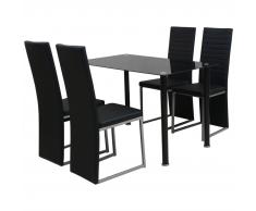 vidaXL Conjunto de Comedor 1 mesa y 4 sillas de Cinco Piezas de Color Negro
