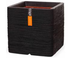 Capi Maceta Nature Rib cuadrada 40x40 cm negra PKBLR903