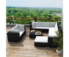 vidaXL juego de sofá jardín 32 piezas mimbre sintético negro
