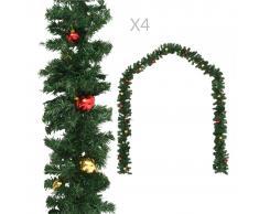 vidaXL Guirnaldas de Navidad con bolas 4 unidades PVC verde 270 cm