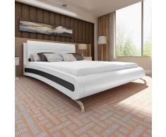 vidaXL Estructura de cama cuero artificial 200x180 cm blanca y negra