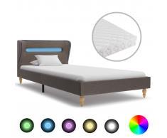 vidaXL Cama con LED y colchón tela gris topo 90x200 cm
