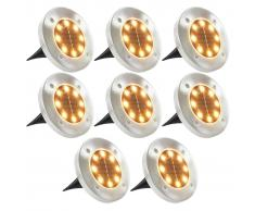 vidaXL Lámparas solares de suelo 8 uds luces LED blanco cálido