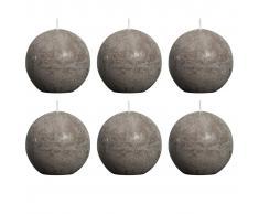 Bolsius Velas rústicas de bola 6 unidades 80 mm gris topo