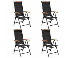 vidaXL Sillas plegables de jardín 2 unidades aluminio textilene negro