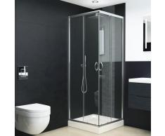 vidaXL Mampara de ducha con vidrio de seguridad 70x70x185 cm