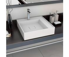 vidaXL Lavabo 50x50x12,3 cm resina mineral/mármol blanco