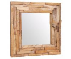 vidaXL Espejo decorativo de teca 60x60 cm cuadrado