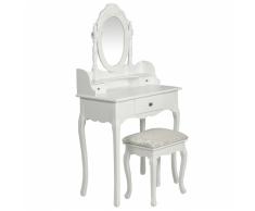 vidaXL Tocador con espejo y taburete blanco