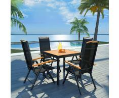 vidaXL Set comedor jardín con sillas plegables 5 piezas aluminio negro