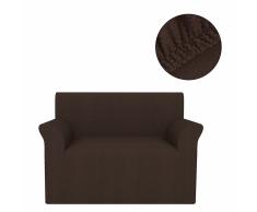 vidaXL Funda elástica para sofá marrón piqué